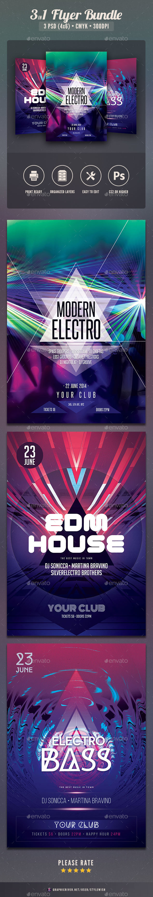 Electro Party Flyer Bundle Vol.5 - Clubs & Parties Events