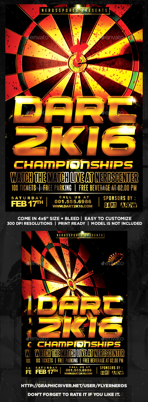 Dart 2K16 Championships Sports Flyer - Sports Events