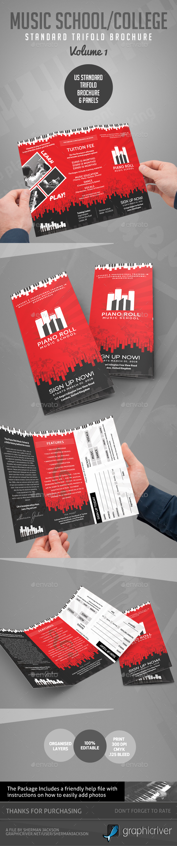 Music College & School Creative Art Brochure - Brochures Print Templates