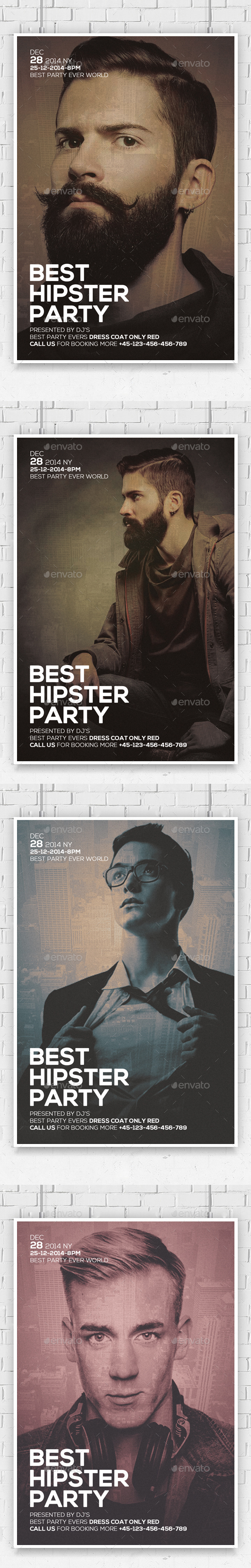 Vintage Hipster Party Flyers - Clubs & Parties Events