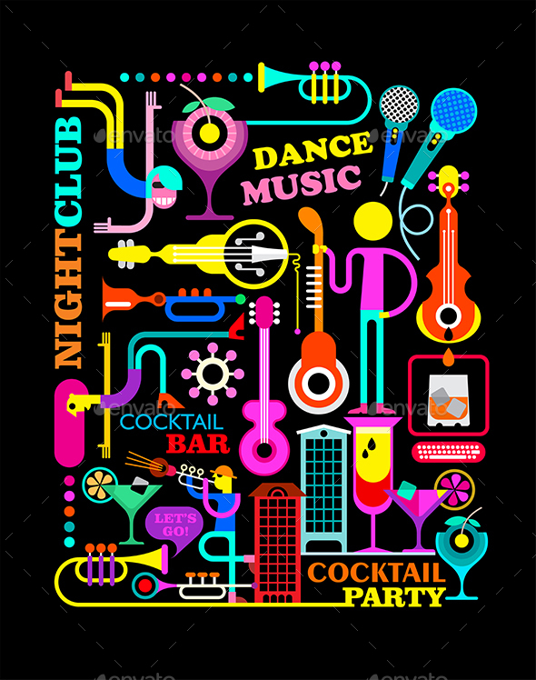 Cocktail Party Illustration - People Characters