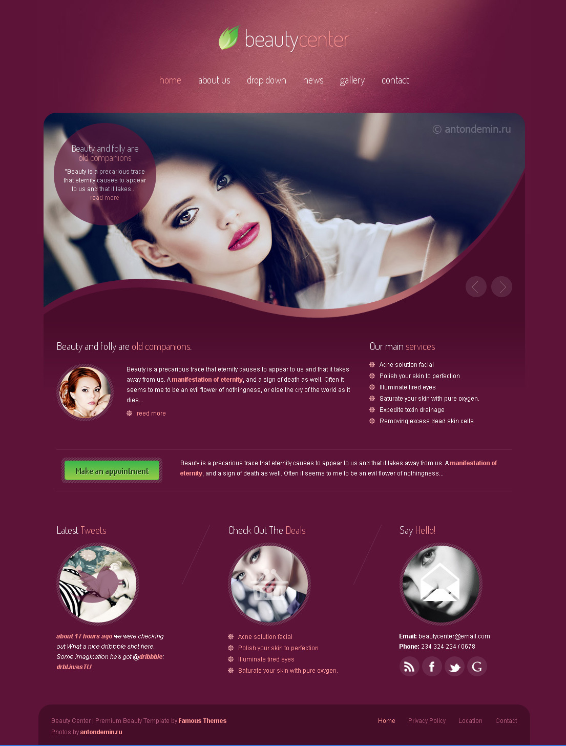 beauty center  css template by smarttemplates