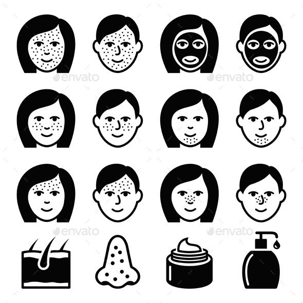 Skin Problems - Acne Spots Treatment Icons Set  - Health/Medicine Conceptual