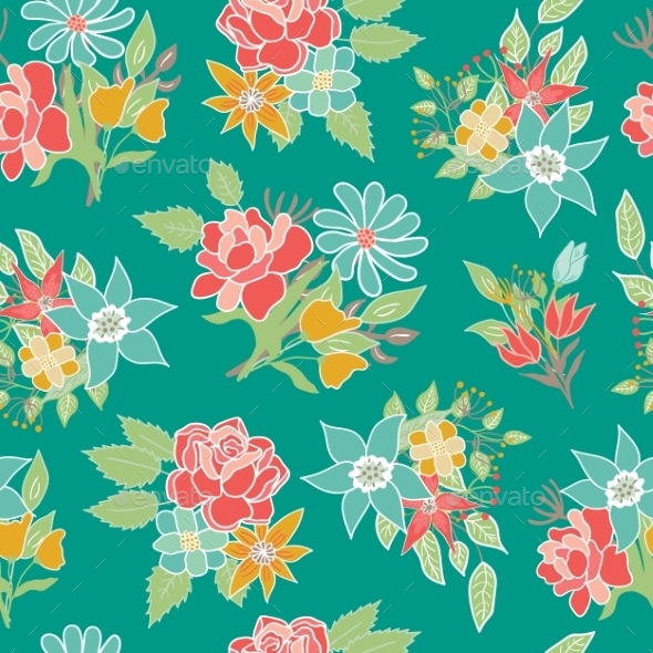 Seamless Floral Pattern Vector Background - Flowers & Plants Nature