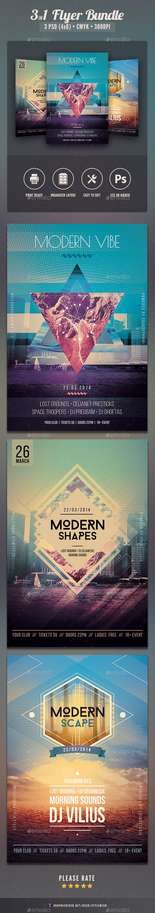 Geometric Flyer Bundle Vol.02 - Clubs & Parties Events