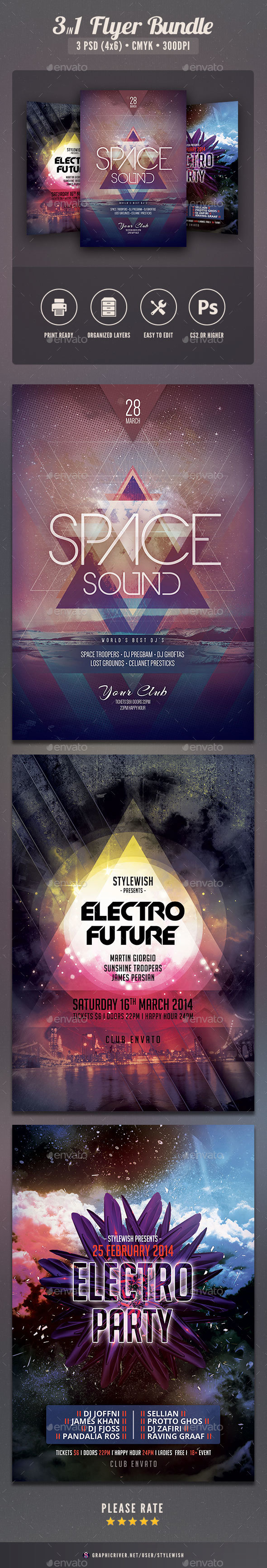 Electro Flyer Bundle Vol.04 - Clubs & Parties Events