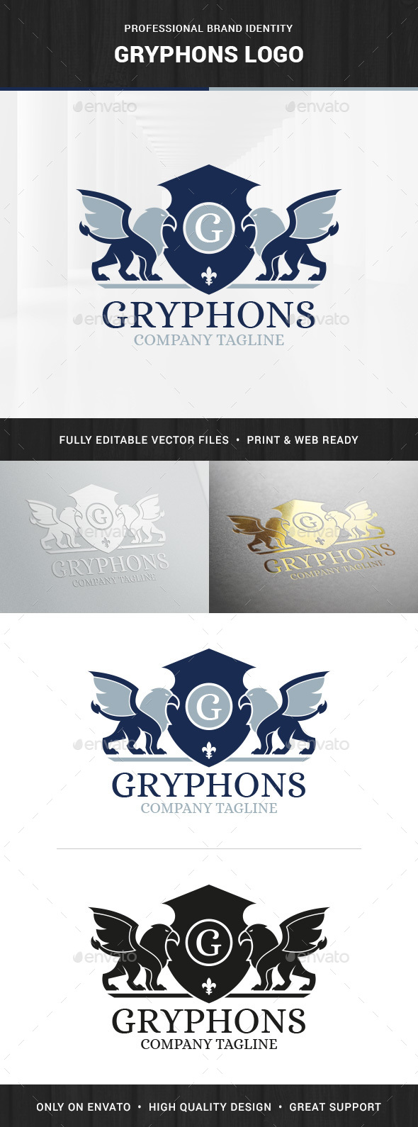 Gryphons Logo Template - Crests Logo Templates