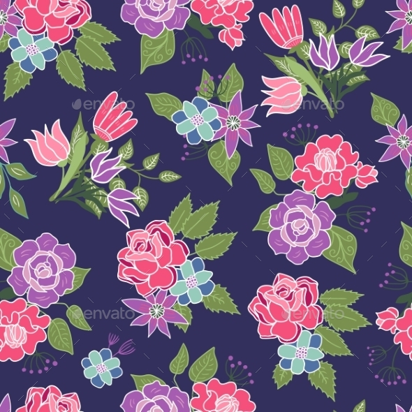 Seamless Floral Pattern Background - Flowers & Plants Nature
