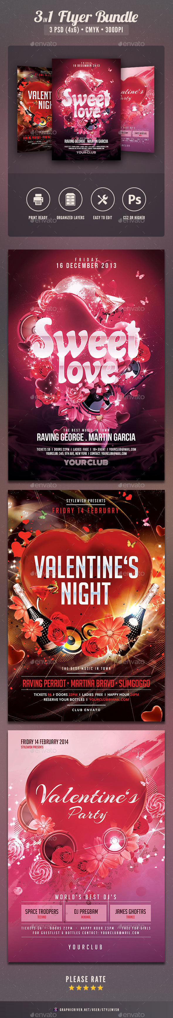 Valentine Party Flyer Bundle - Clubs & Parties Events