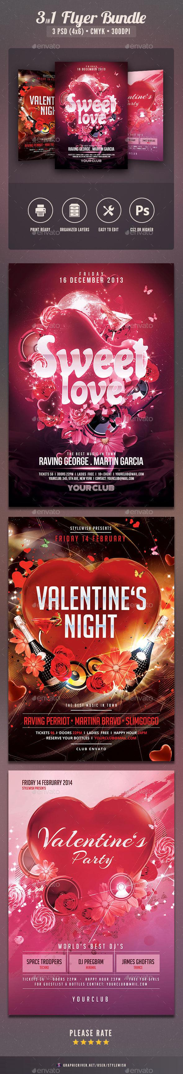 Valentine Party Flyer Bundle