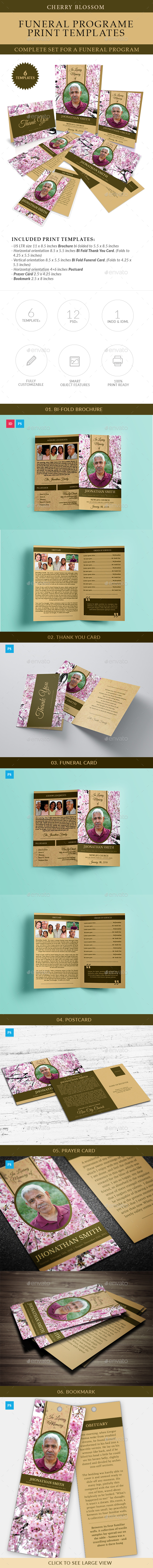 Cherry Blossom Funeral Print Templates Combo Set - Cards & Invites Print Templates