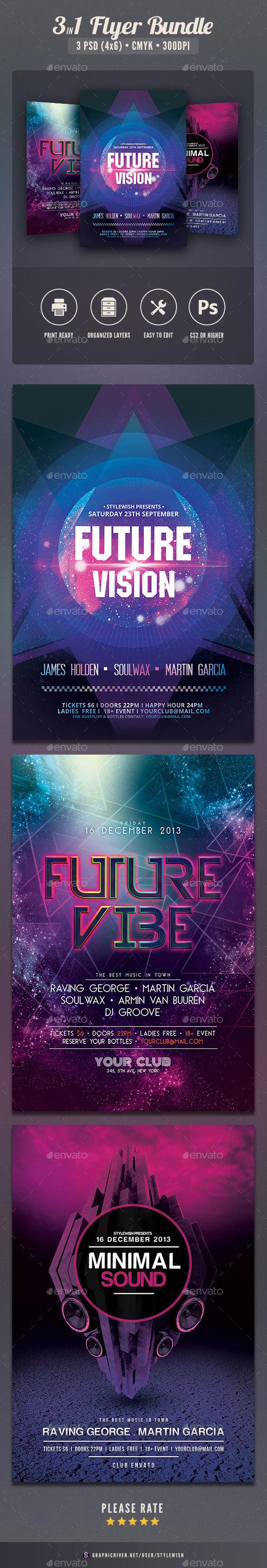 Futuristic Party Flyer Bundle - Clubs & Parties Events