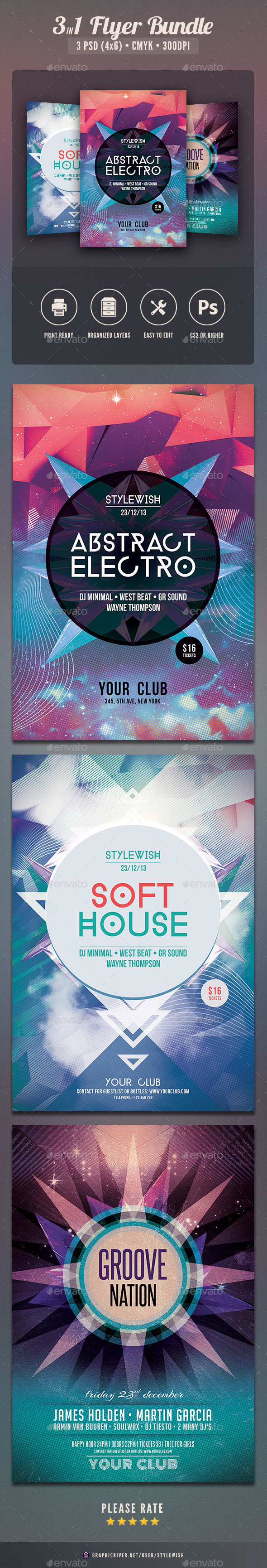 Abstract Party Flyer Bundle - Clubs & Parties Events