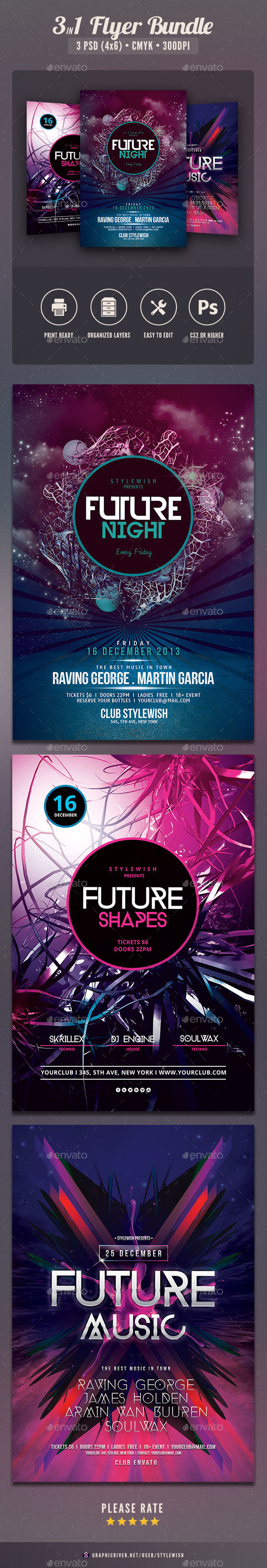 Future Party Flyer Bundle Vol3 - Clubs & Parties Events