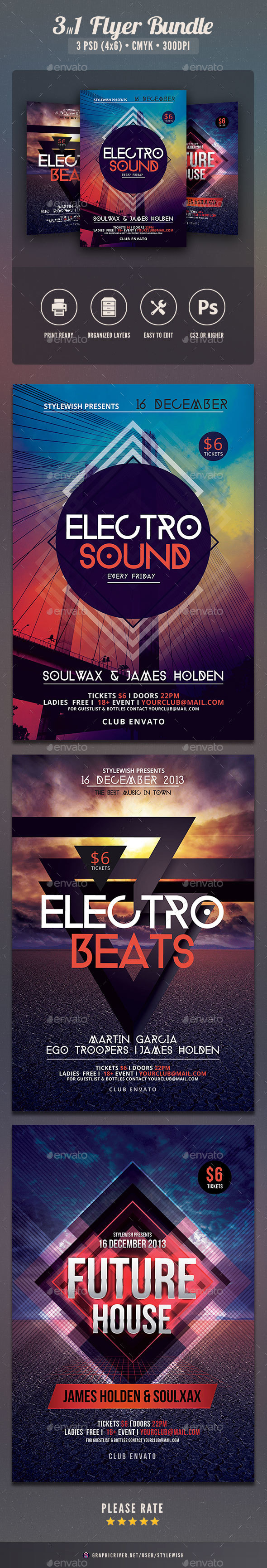 Electro Party Flyer Bundle Vol2 - Clubs & Parties Events