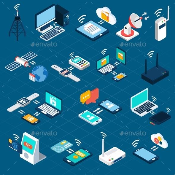 Wireless Technologies Isometric Icons - Communications Technology