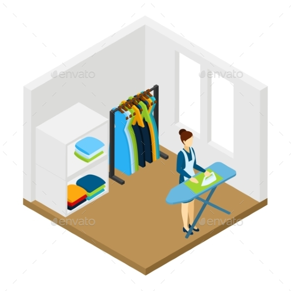 Household Chore Ironing Isometric Pictogram - Miscellaneous Conceptual