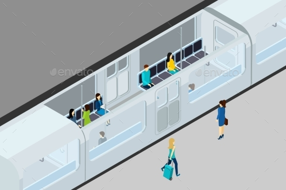 Underground People and Train Illustration  - People Characters