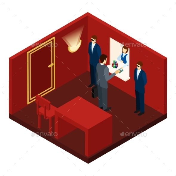 Casino and Gambling Isometric Illustration  - People Characters