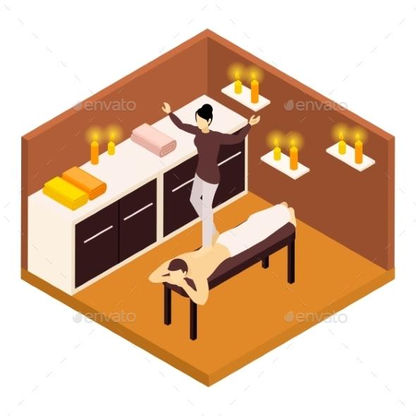 Back Massage Isometric Illustration  - Health/Medicine Conceptual