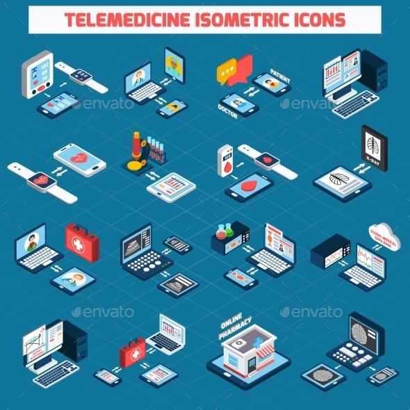 Telemedicine Isometric Icons Set - Health/Medicine Conceptual