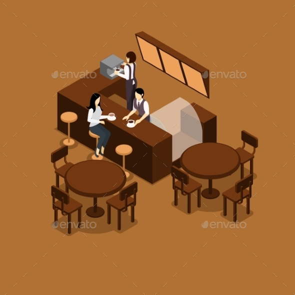 Waitress Isometric Illustration  - Services Commercial / Shopping