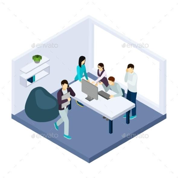 Co-working and Teamwork Illustration  - Concepts Business