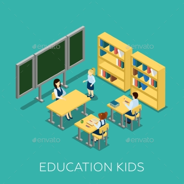 Education Isometric Illustration - People Characters