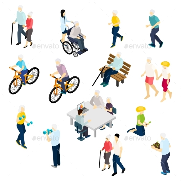 Pensioners Life Isometric Set  - People Characters