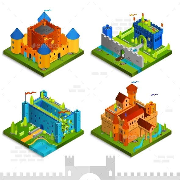 Medieval Castles Isometric Collection - Buildings Objects