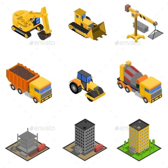Construction Isometric Icons Set - Industries Business