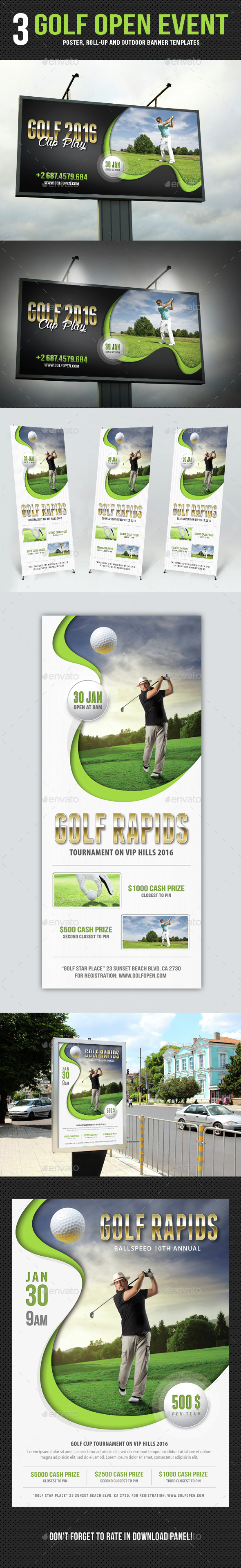 3 Golf Event Poster And Banners Bundle - Signage Print Templates