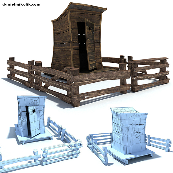 Low Poly Wild West Toilet  - 3DOcean Item for Sale