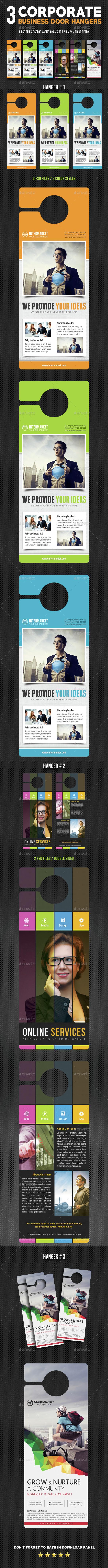 3 Corporate Business Door Hanger Bundle 05 - Miscellaneous Print Templates