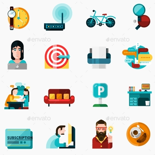 Coworking Icons Set - Business Icons