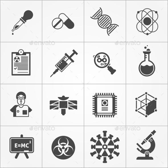 Science Black White Icons Set  - Technology Icons
