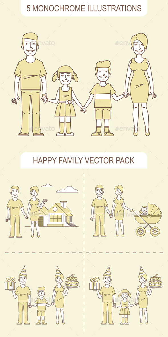 Happy Family Pack - People Characters