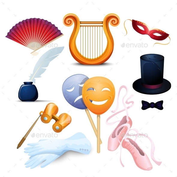 Theater Background Flat Icons Set - Industries Business