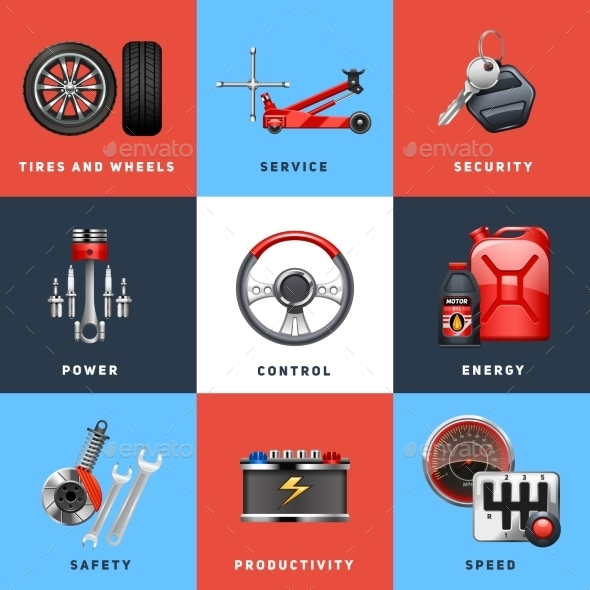 Car Service Concept Flat Icons Set  - Man-made objects Objects