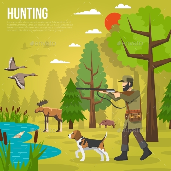 Flat Icons with Hunter Aiming at Ducks - Sports/Activity Conceptual