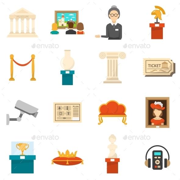 Museum Decorative Flat Color Icons Set - Decorative Symbols Decorative