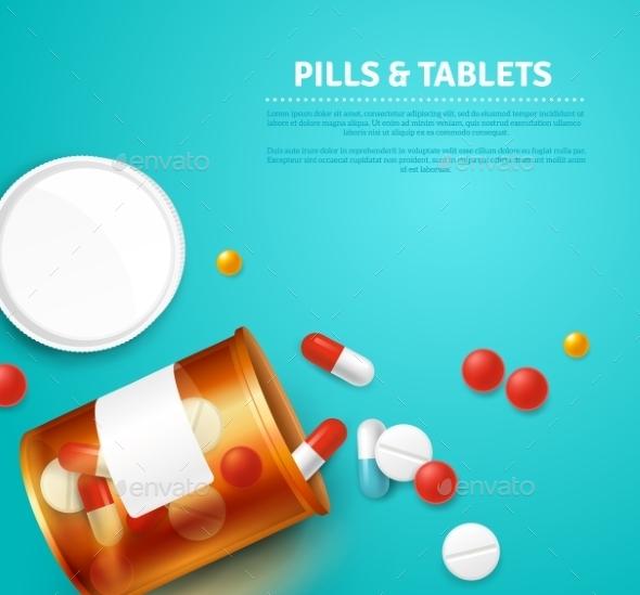 Pills Bottle Realistic Illustration  - Health/Medicine Conceptual