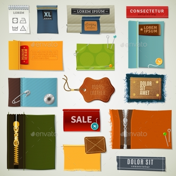 Textile Labels Set - Retail Commercial / Shopping