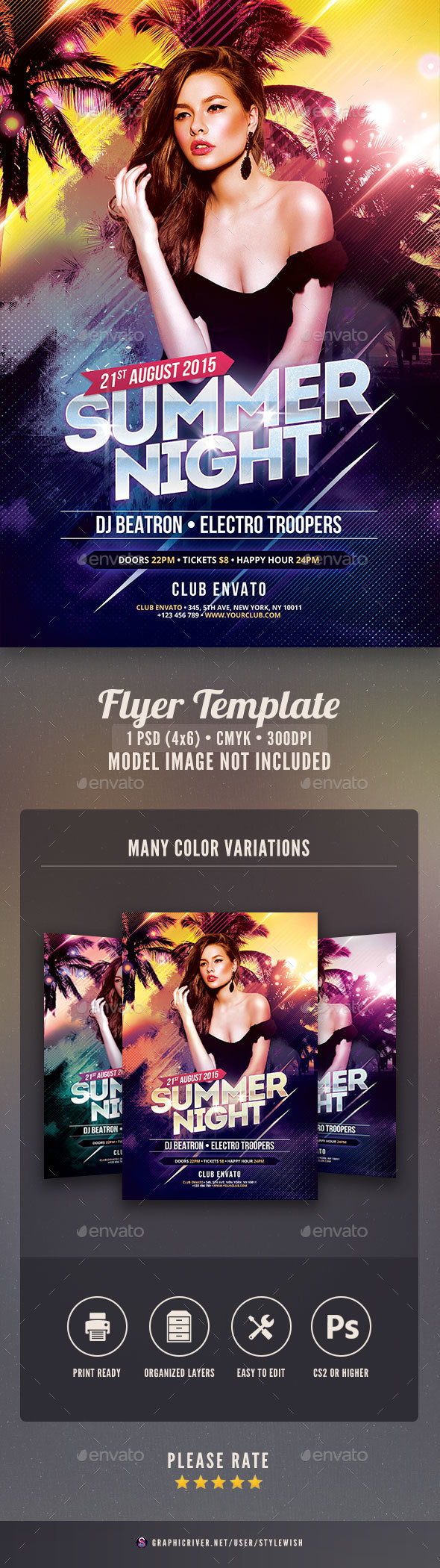Summer Night Flyer - Clubs & Parties Events