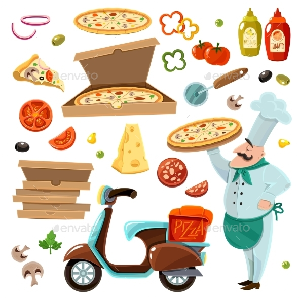 Pizza Cartoon Set - Food Objects