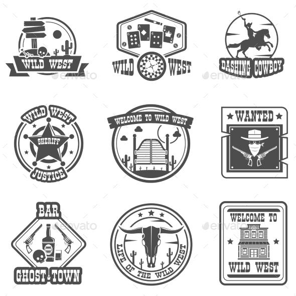 Cowboy Label Set - Decorative Symbols Decorative
