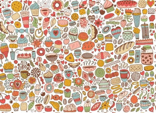 Doodle Seamless Pattern with Cupcakes - Backgrounds Decorative