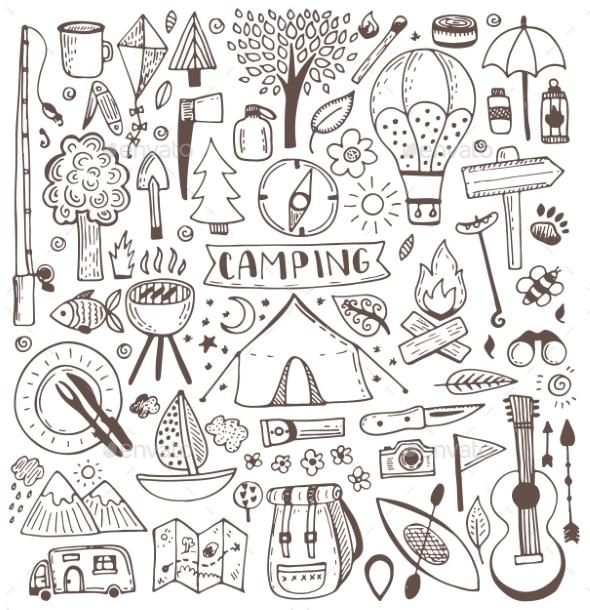 Camping Doodle Set - Travel Conceptual