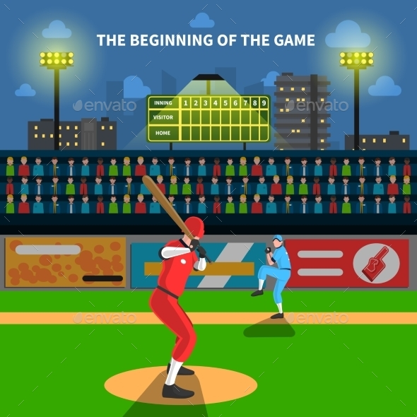 Baseball Game Illustration - Sports/Activity Conceptual