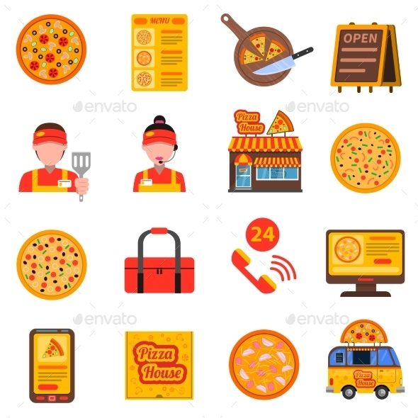 Pizza Colored Set - Food Objects
